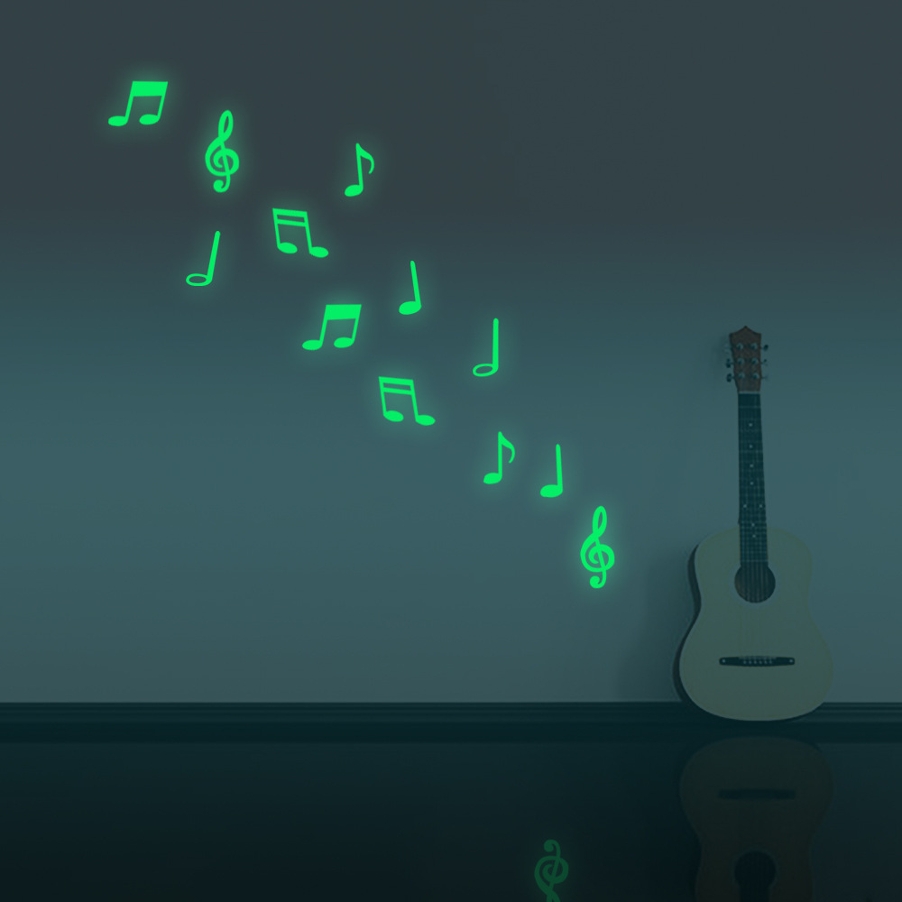 Honana DX-164 12Pcs Fluorescent Glow Musical Note Wall Sticker Home Bedroom Decor