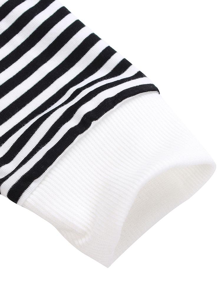 Casual Irregular Stripe Patchwork Long Sleeve Women Bottom T-Shirt