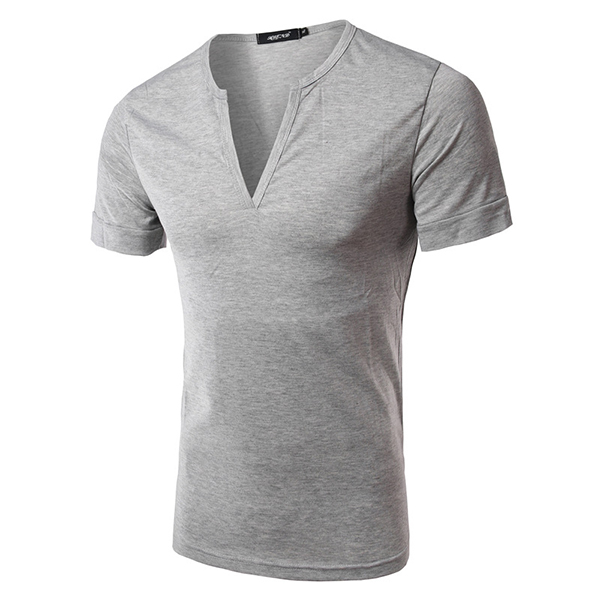 Men's Fashion Sexy Deep V-Collar T-shirts Casual Slim Pure Color Short Sleeve Tees