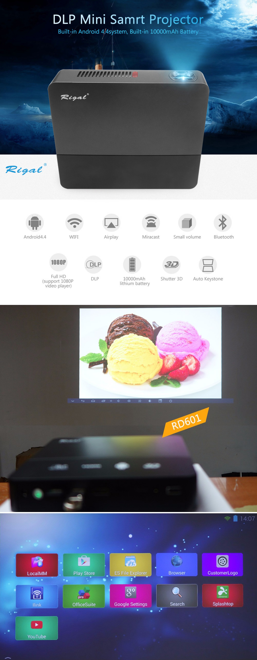 Rigal Projector RD601 10000mAh Android WIFI LED MINI DLP HD Projector 3D Beamer 350 ANSI Lumens