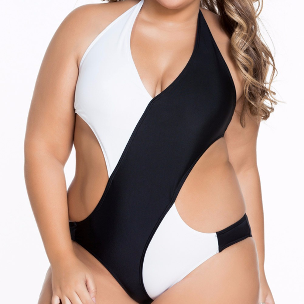 Women Sexy Plus Size Bikini Swimwear One-Piece Jumpsuits V-Neckline Bathing Swimming Suit