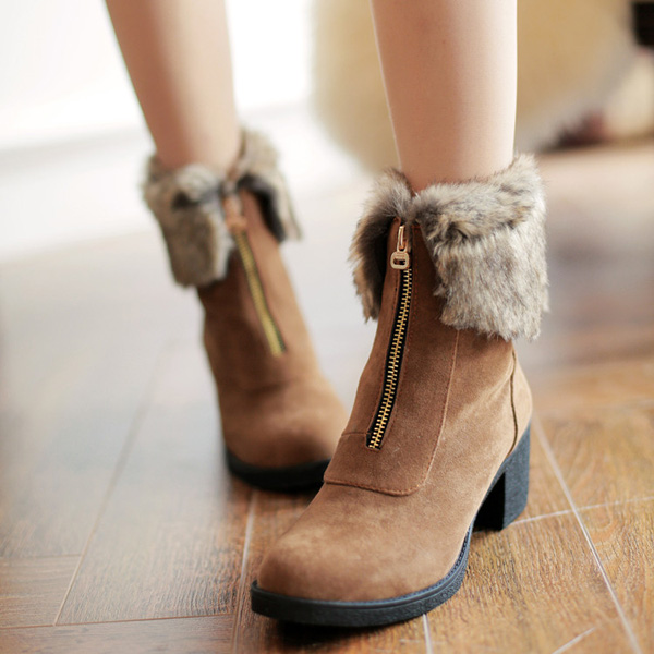 Zipper Faux Fur Lining Round Toe Wedge Ankle Boots For Women