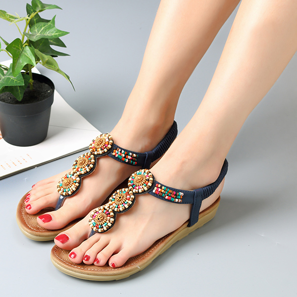 SOCOFY Bohemian Beaded Beach Flat Sandals