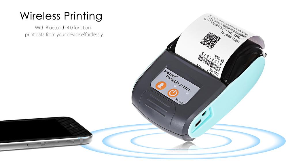 GOOJPRT PT-210 58MM Wireless Portable bluetooth Thermal Receipt Printer Machine For Windows Android iOS