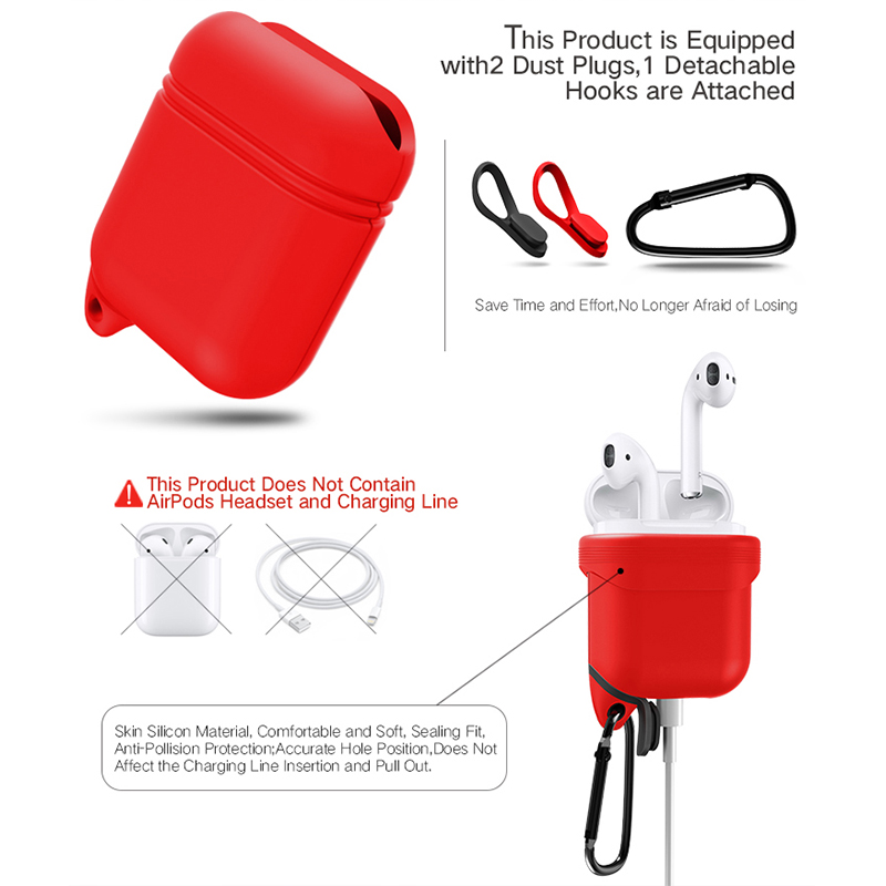 Outdoor Portable Silicone Water-proof Dust Proof Charging Port Protective Cover Case Bag for Airpods