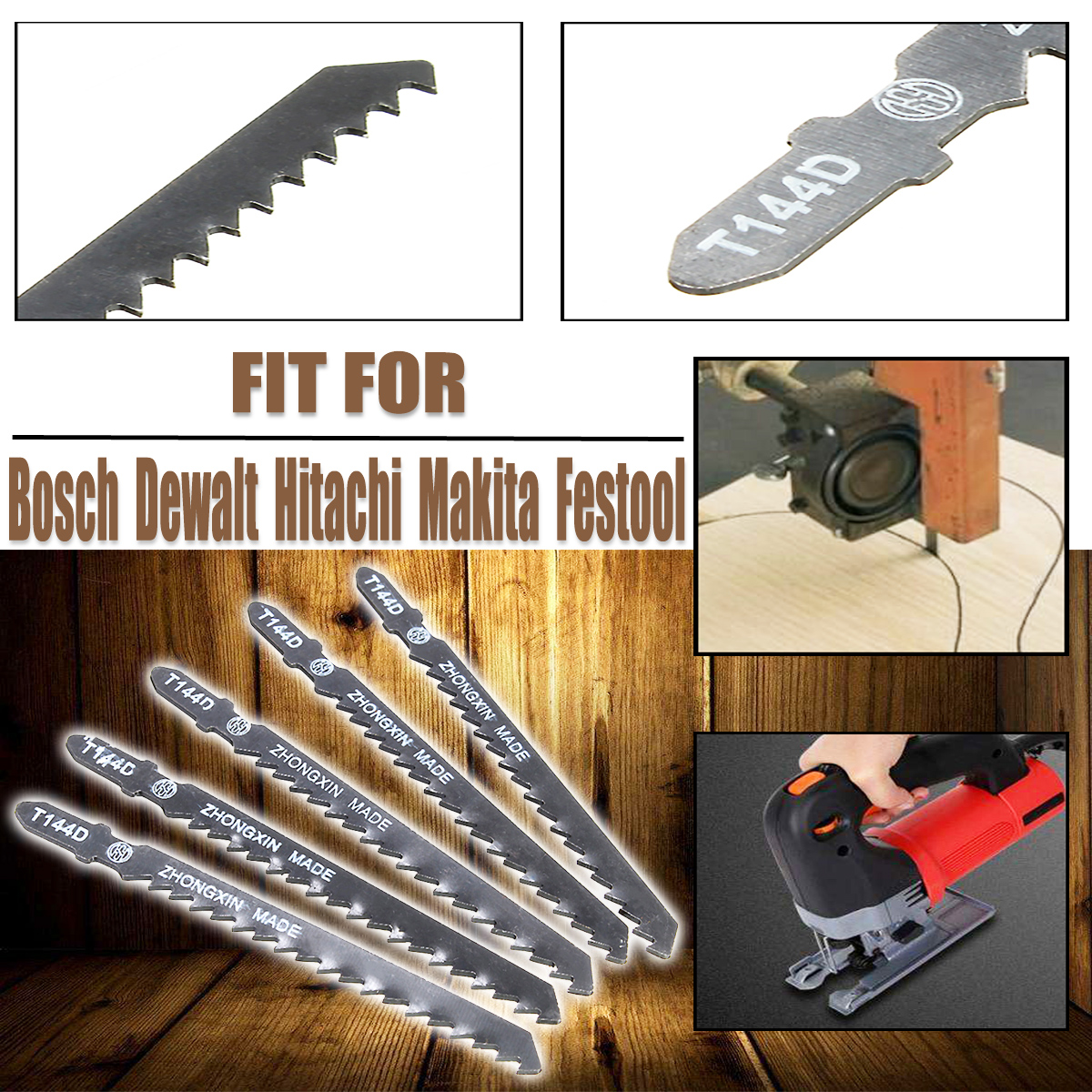 10Pcs Jigsaw Blades Wood Cutter T144D Fit Bosch Hitachi Makita Festool