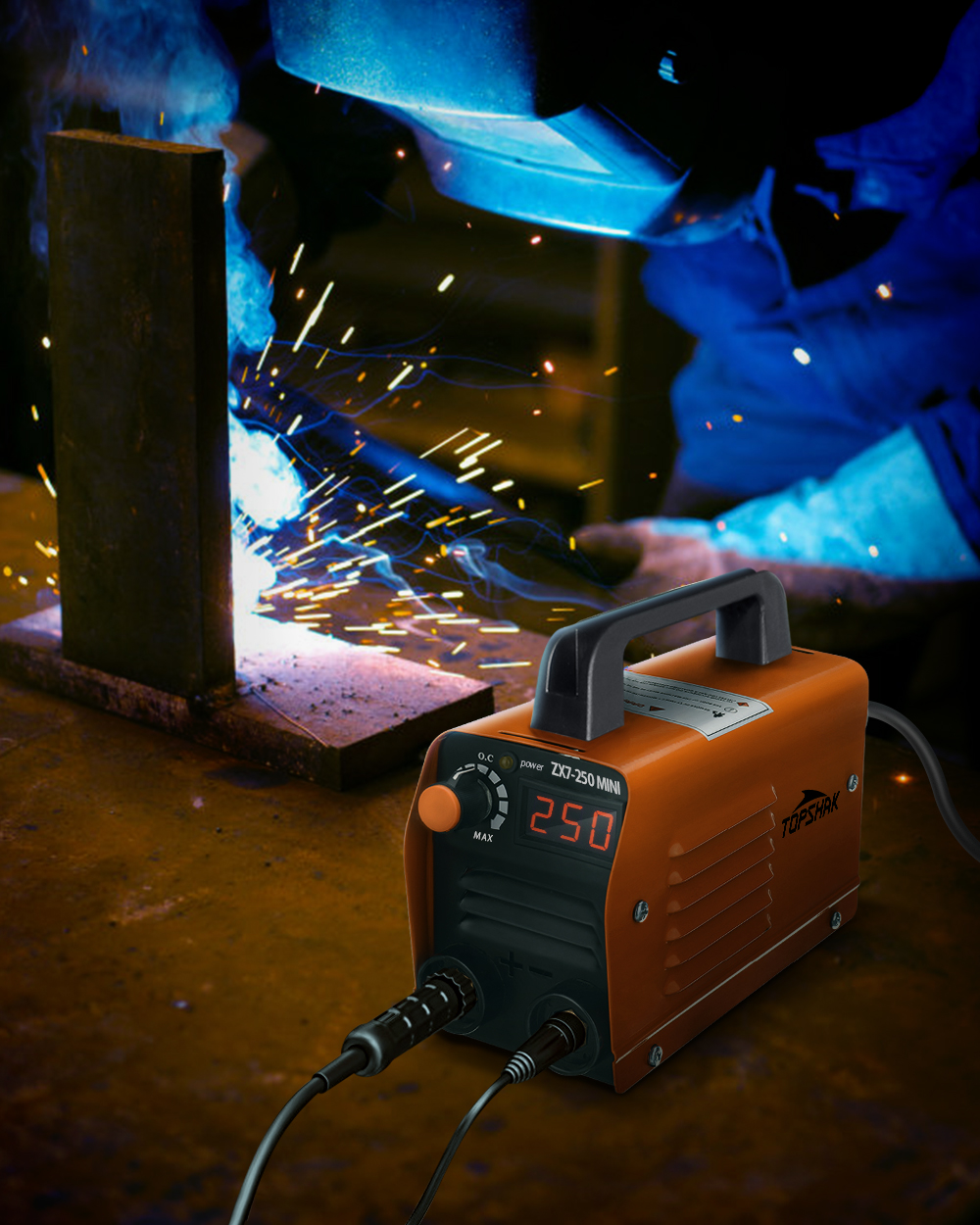 Topshak ZX7-250 250A 220V Mini Electric Welding Machine Portable Digital Display MMA ARC DC Inverter Plastic Welder Weld Equipment