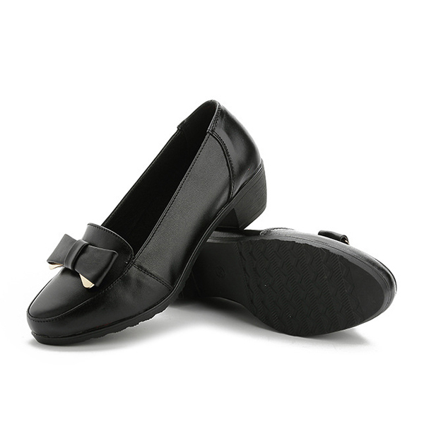 Women Leisure Soft Leather Flat Shoes Bowknot Slip On Black Loafers
