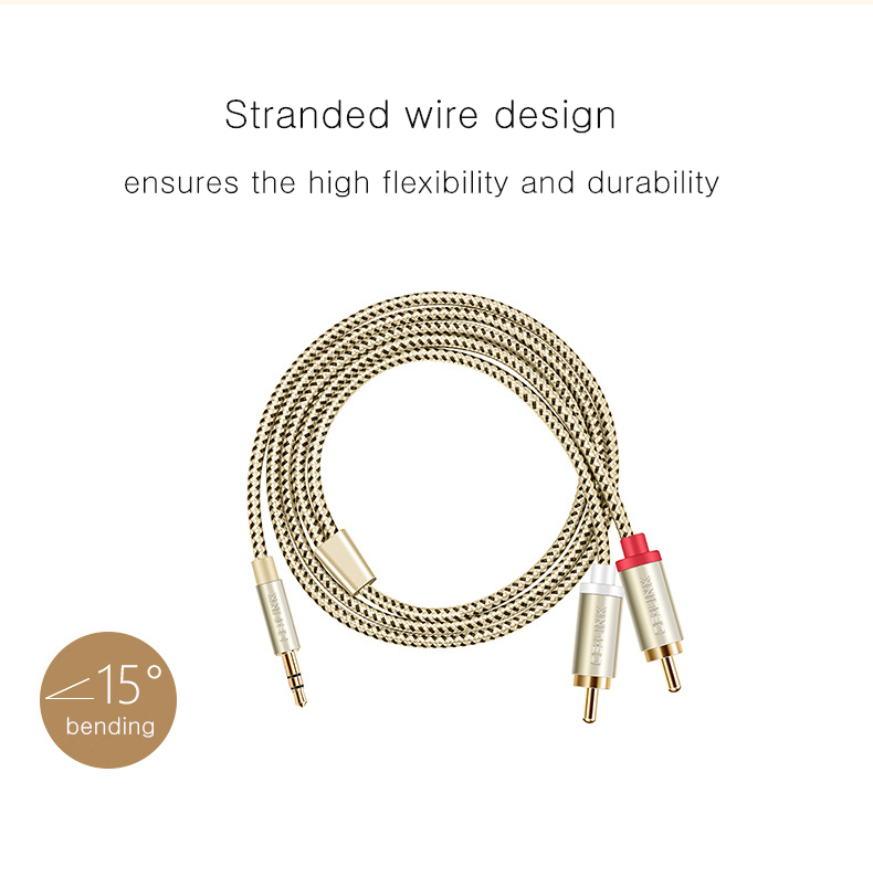 CE-LINK 2 in 1 Splitter 3.5mm Male to Male 2 RCA AUX Audio Cable Adapter for Smartphone Speaker DVD