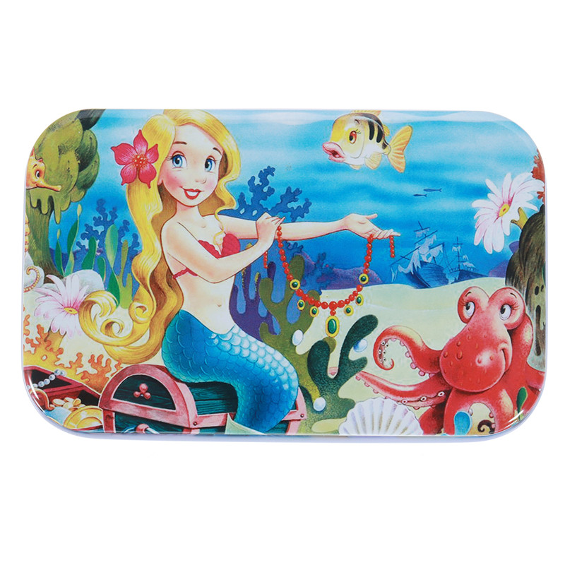 60pcs DIY Puzzle Mermaid Cartoon 3D Jigsaw With Tin Box Kids Children Educational Gift Collection Toy