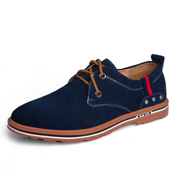 US Size 6.5-11 Men Low Top Lace Up Flat Outdoor Suede Casual Breathable Fashion Shoes