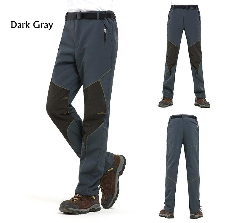 Outdoor Water-repellent Soft Shell Pants Men's Warm Fleece Lining Sport Climbing Pants