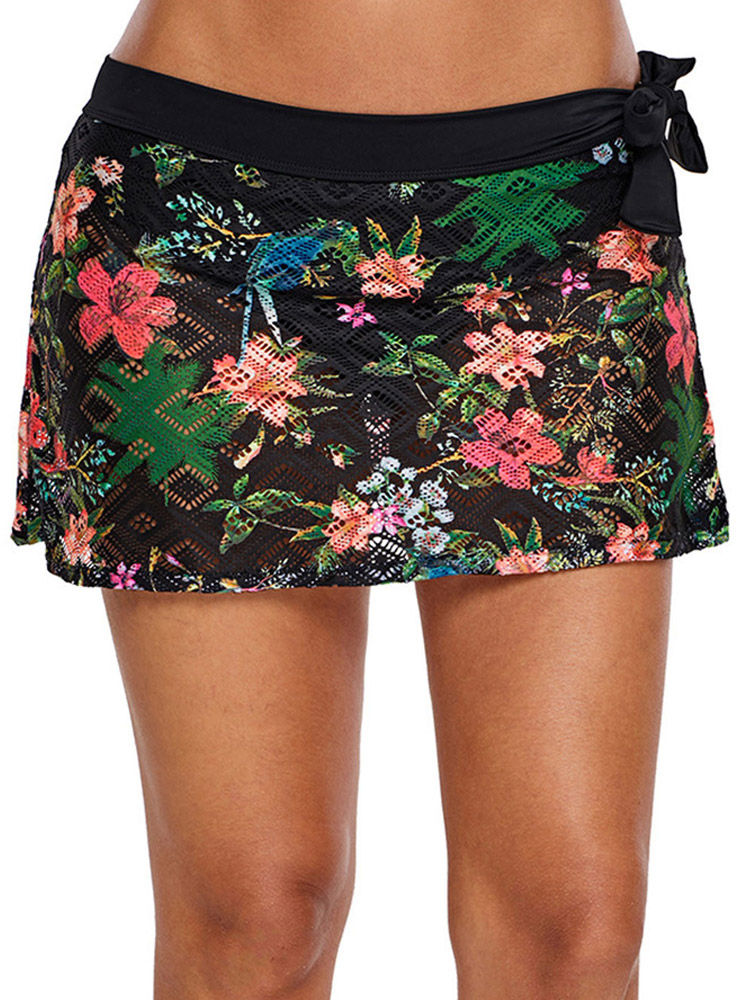 Black Printed Lace Dress Casual Beach Swimming Trunks
