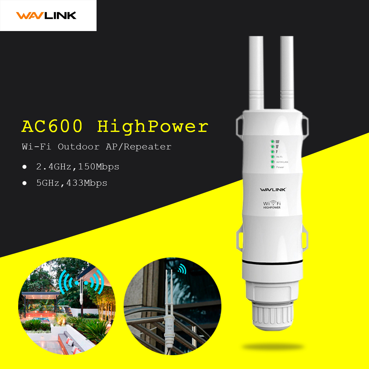 Wavlink AC600 2.4g/5G High Power Outdooor Waterproof WIFI Router/AP Repeater 2 Antennas AU Plug