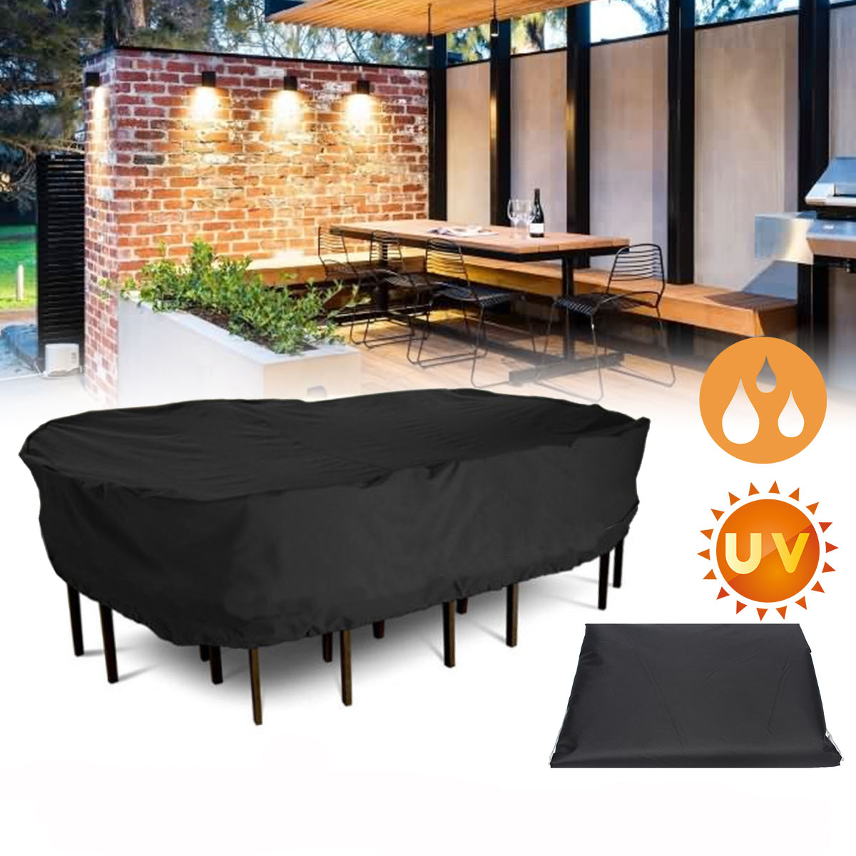 Garden Patio Furniture Winter Cover Waterproof Large Rectangular Table Chair Covers