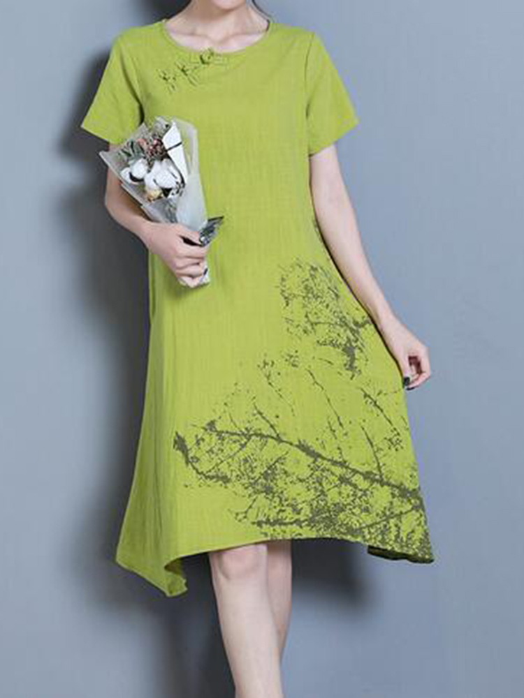 Vintage Women Short Sleeve Print Irregular Dresses