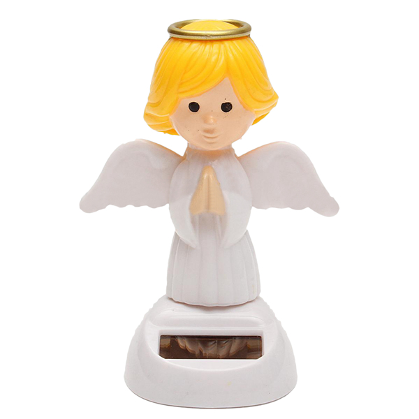 Solar Powered Toy Bobble Head Moving Wings Dancing Angel
