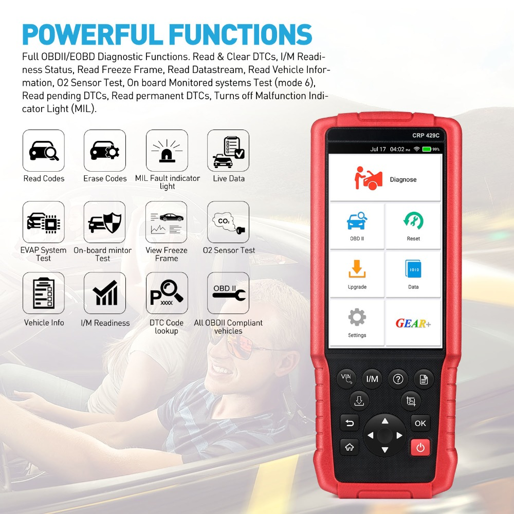 LAUNCH X431 CRP429C Car OBD2 Scanner Diagnostic Scan Tool Code Reader for Engine ABS Airbag AT+11 Service