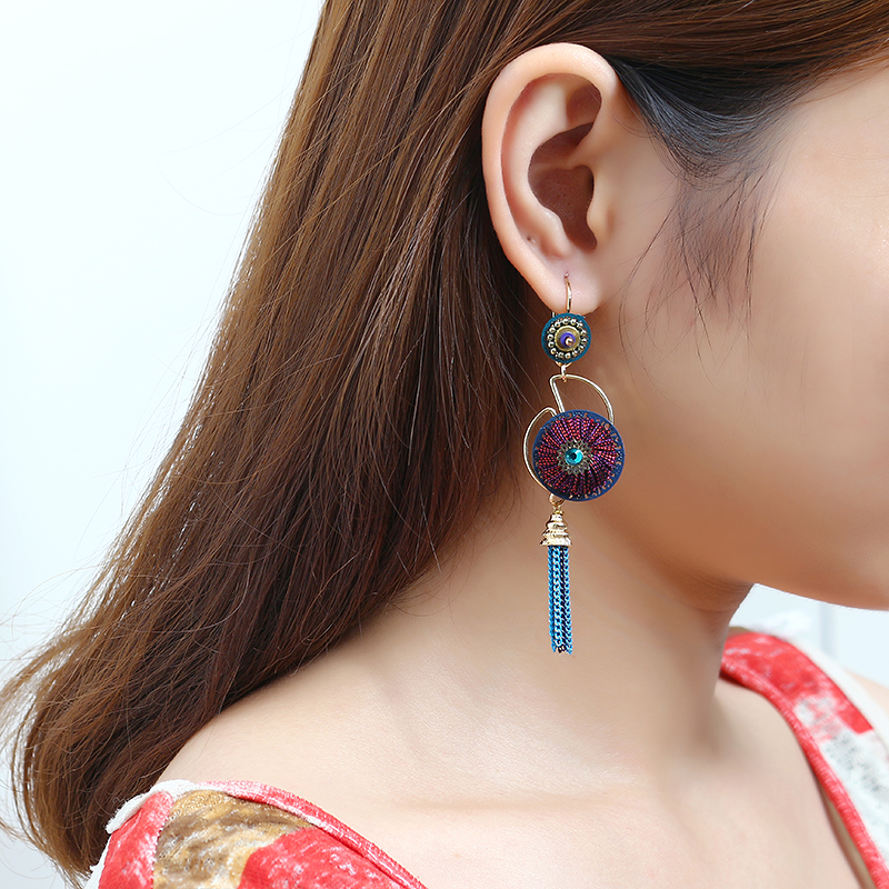 Bohemian Earrings Luxury Gold Plated Flower Charm Tassel Pendant Ear Drop Boho Jewelry for Women