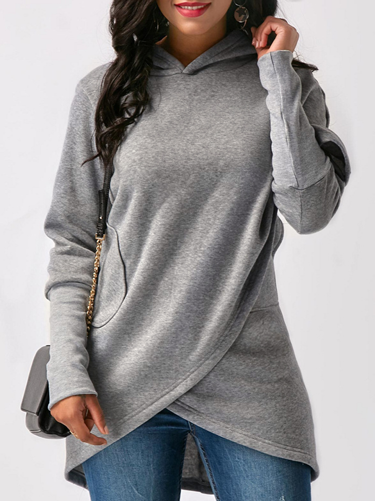 Pure Color Asymmetric Hooded Sweatshirt