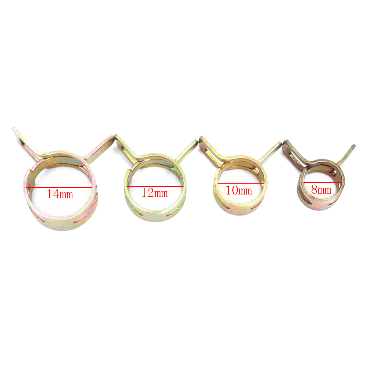 10pcs 8mm/10m/12mm/14mm Spring Clip Fuel Hose Line Pipe Tube Band Clamp Fastener