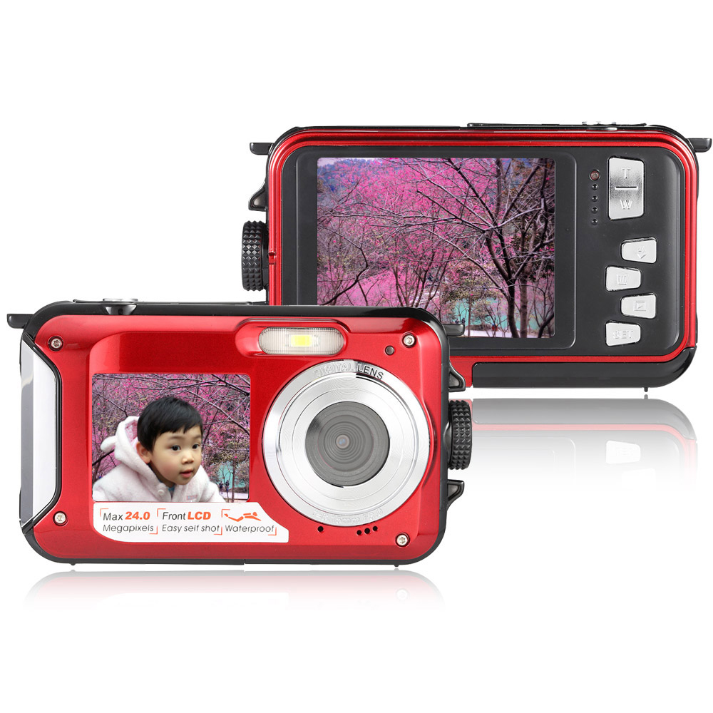 Amkov W599 24MP 2.7 Inch Double Screen Waterproof Anti Shake 16X Zoom 1920x1080 HD Camera