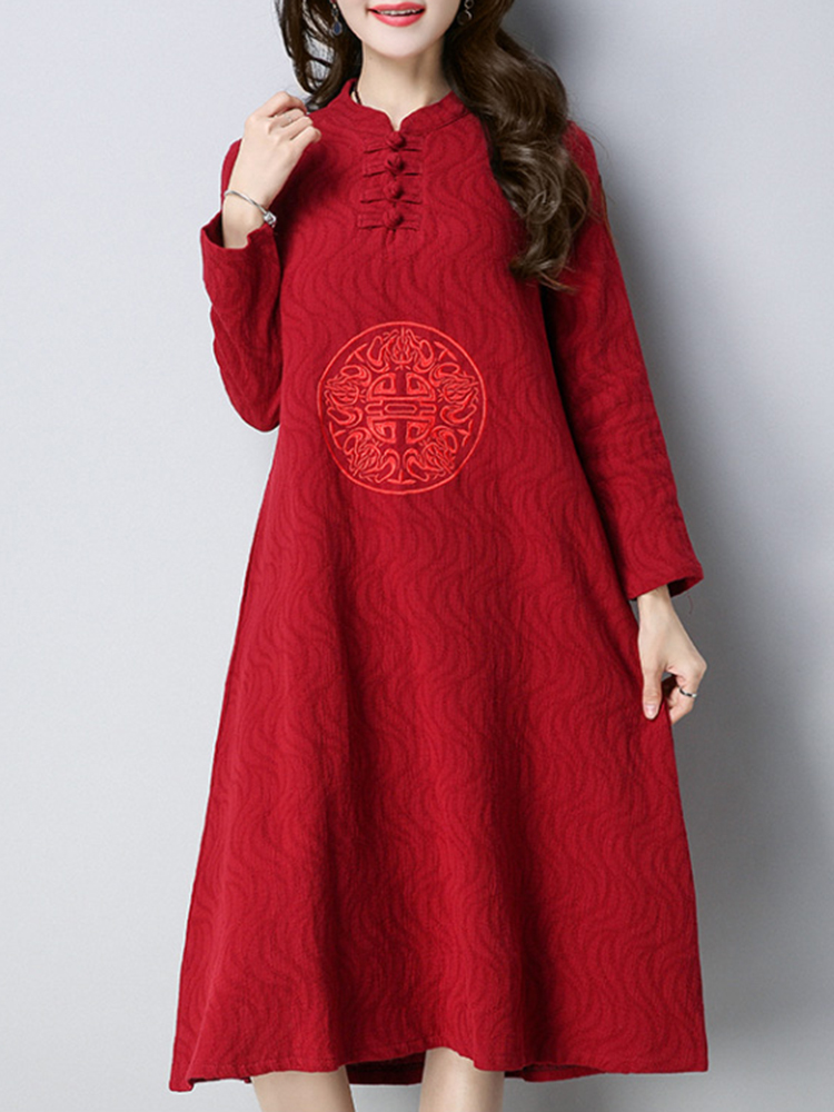 Vintage Women Embroidery Stand Collar Dress