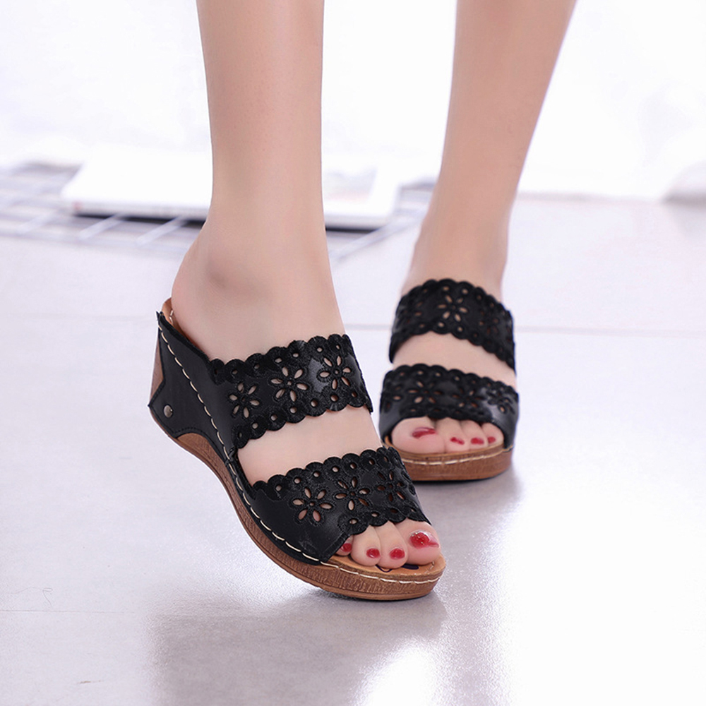 Women Shoes Casual Flowers Hollow Hook Loop Sandals