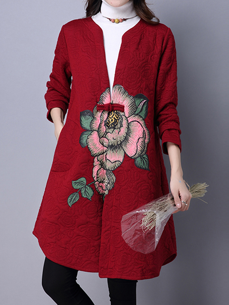 Artistic Design V-Neck Long Sleeve Vintage Printing Button Coat