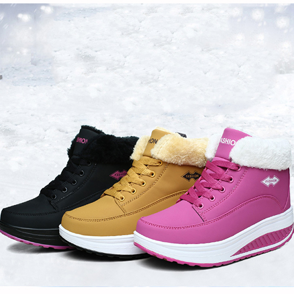 Warm Fur Lining Rocker Sole Platform Boots Women Casual Shoes