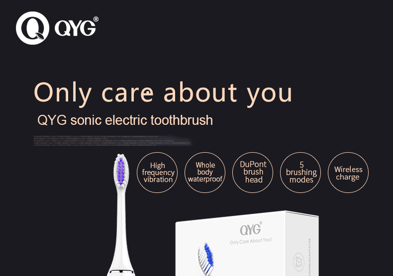QYG Q1 Sonic Electric Toothbrush Powerful USB Rechargeable IPX7 Waterproof Pink & White With 2 Toothbrush Head