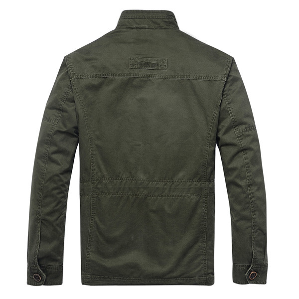 Mens Military Style Multi Pocket Stand Collar Zipper Single Breasted Solid Color Casual Jacket