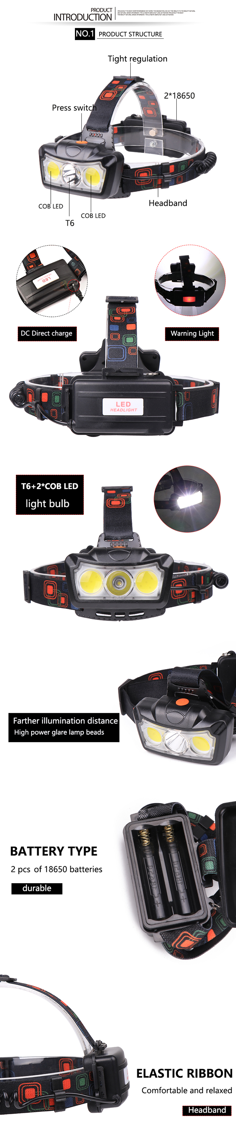 XANES® 1300LM T6+2xCOB LED HeadLamp Waterproof 4 Modes Outdoor Running Camping Hiking Cycling Light 2x18650 DC Rechargeable Interface