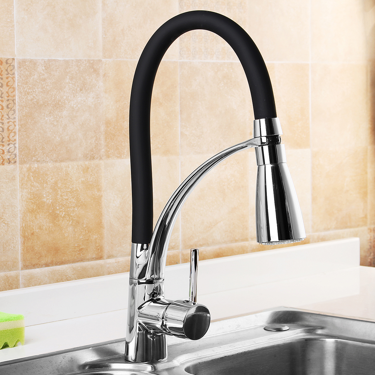 LED Kitchen Sink Faucet Black Chrome Plated Cold Hot Pull Out Spray Faucet Mixer Taps