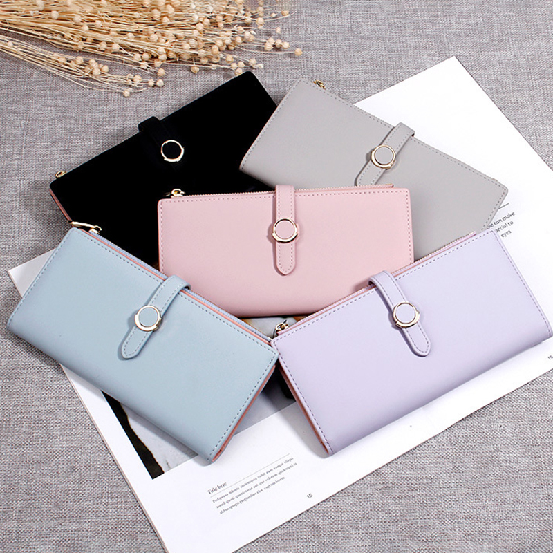 Women Faux Leather Double Fold Fashion Purse Card Holder