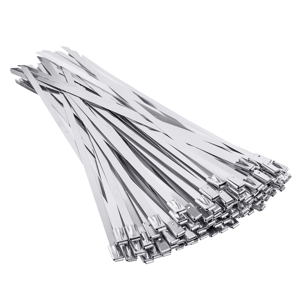 100Pcs 4.6x200mm Stainless Steel Zip Tie Exhaust Wrap Coated Locking Cable Ties
