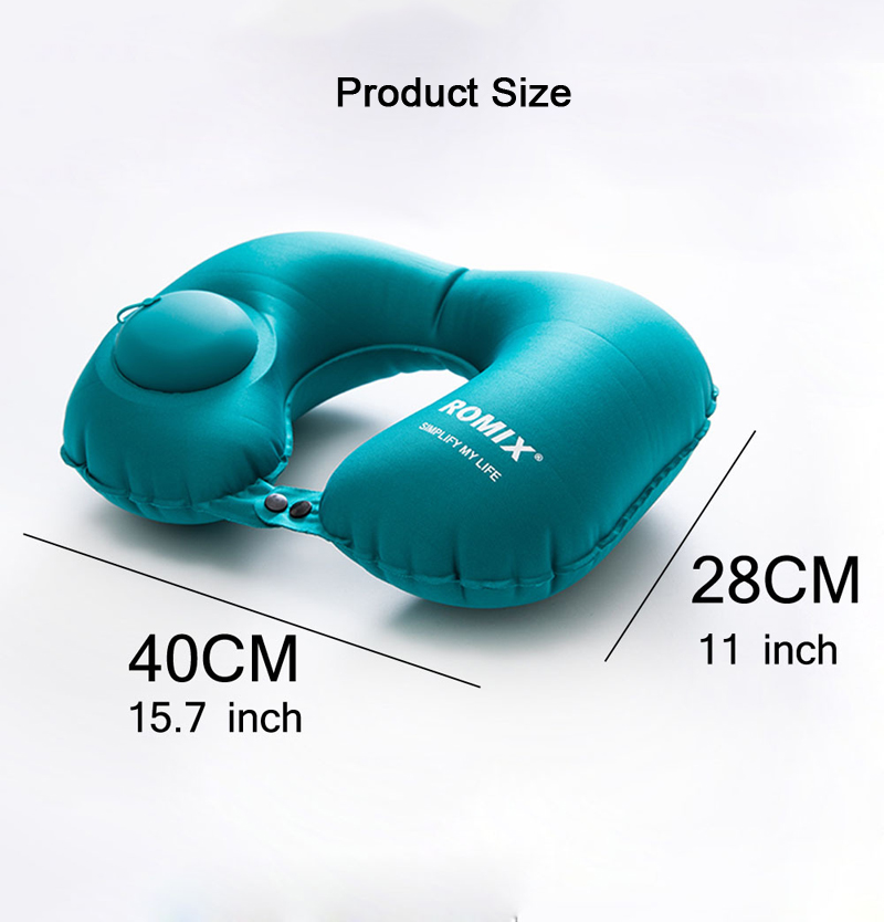 IPRee® Portable Push Type Automatic Inflatable U-Shaped Pillow Neck Rest Air Cushion Outdoor Travel