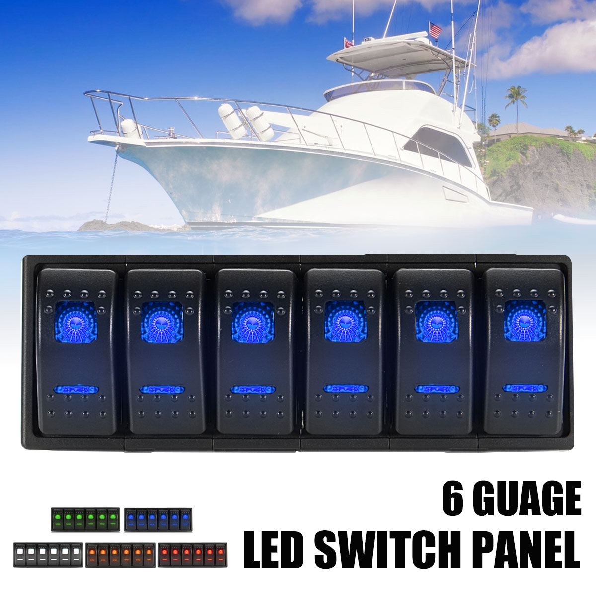 6 Led 12v 24v Rocker Switch Panel On Off Motorboat Marine W Jumper Boat Caravan 4 Gang Circuit Breaker Alex Nld Package Included 1 X 2 Stickers Instructions Are Not More Detailed Photos