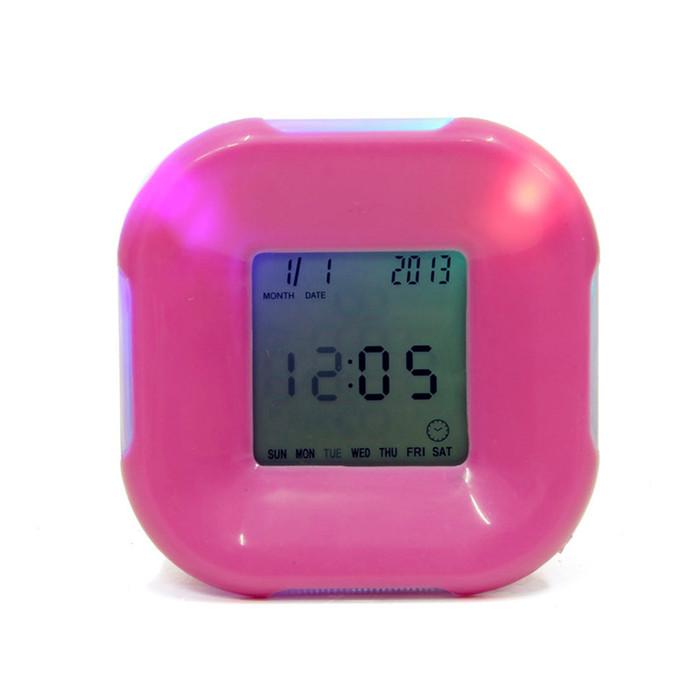 Multifunction 4 Side Change Clock Calendar Timer Temperature Rotation LED Digital Alarm Clock