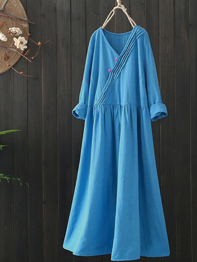 Vintage Women Cotton Chinese Style V-Neck Long Sleeve Dress