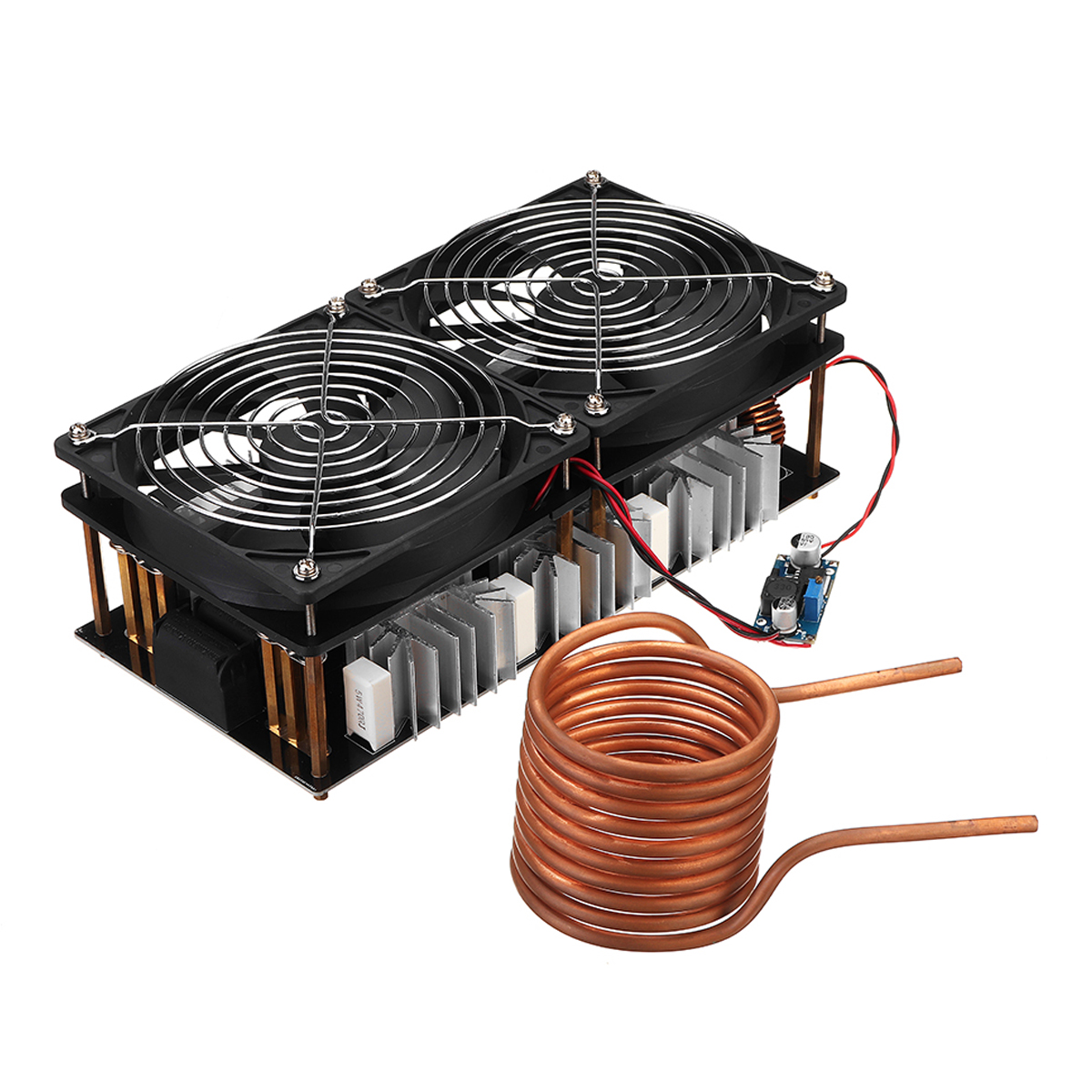 2500W ZVS Induction Heating PCB Board Module Flyback Driver Heater + Tesla Coil + Dual Fans