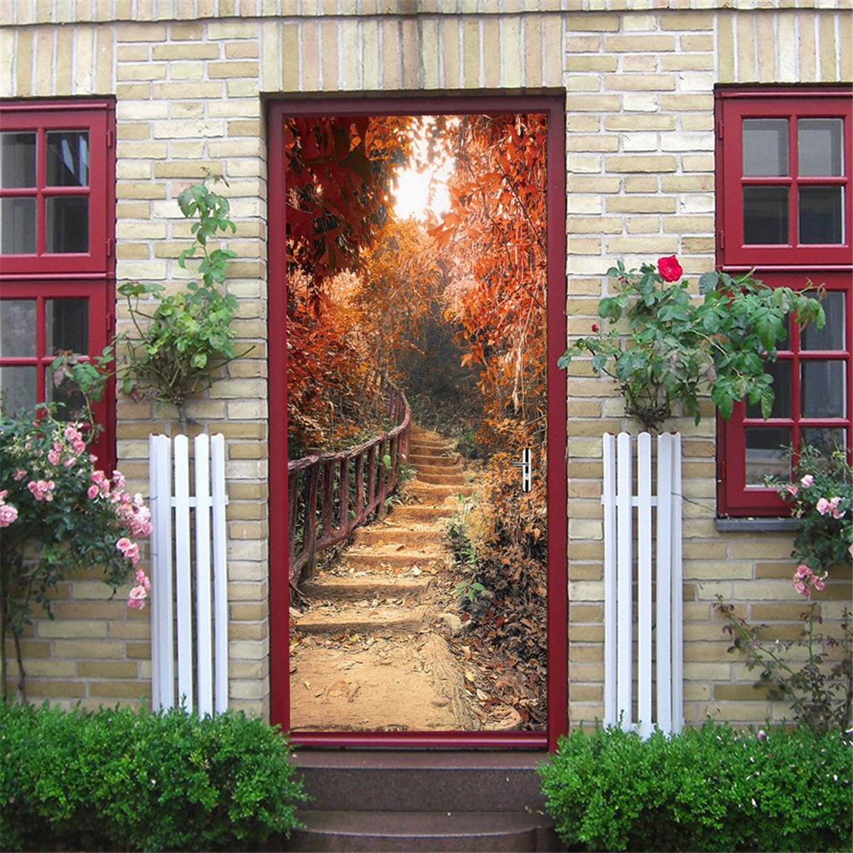 Maple Path Self Adhesive Mural Decals 3D Door Wall Sticker Home Decor Waterproof
