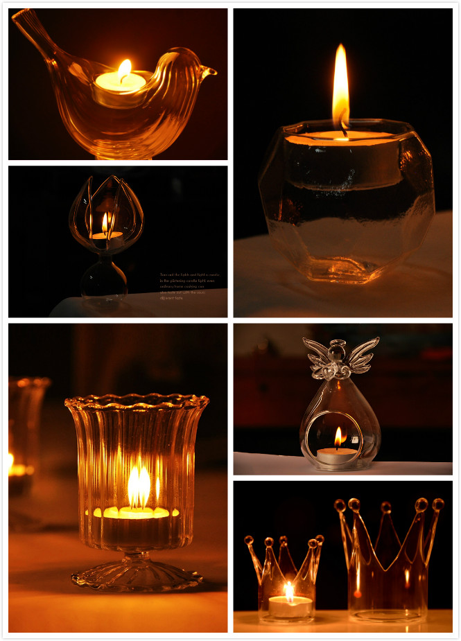 Crown Glass Candle Holder Candelabrum Candle Stick Candle Light Dinner Home Wedding Decor Gift