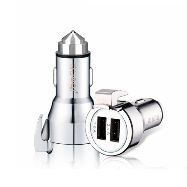 ZUOQI ZQ-C101 Dual USB Car Charger 3.4A 12~24V Tungsten Steel Hammer Head