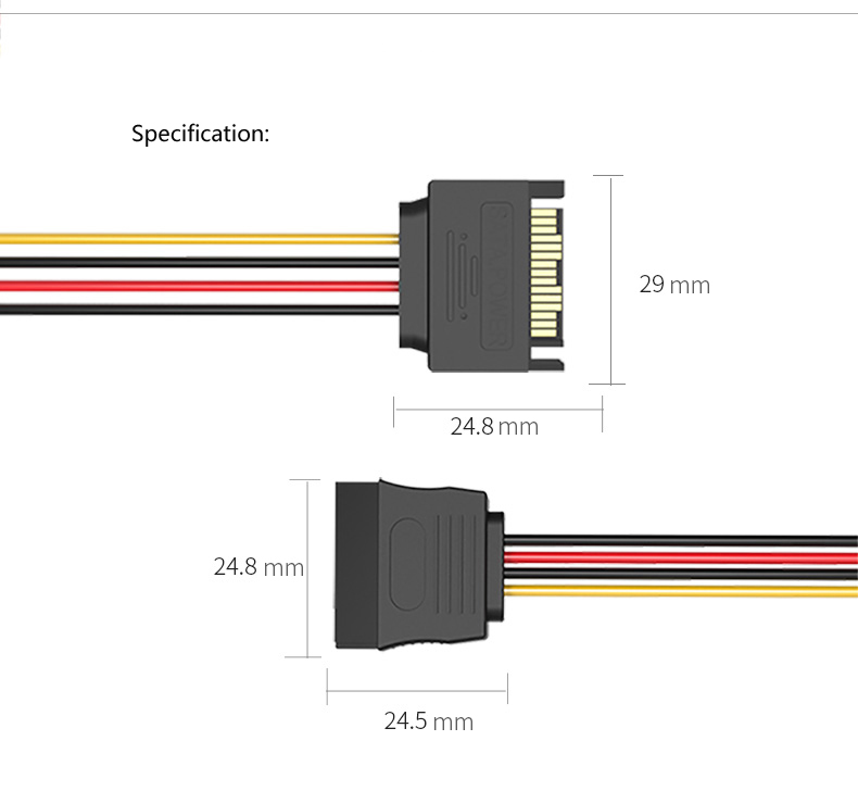 Vention KDABY 15PIN Male to Female SATA Hard Disk Cable Power Supply Extension