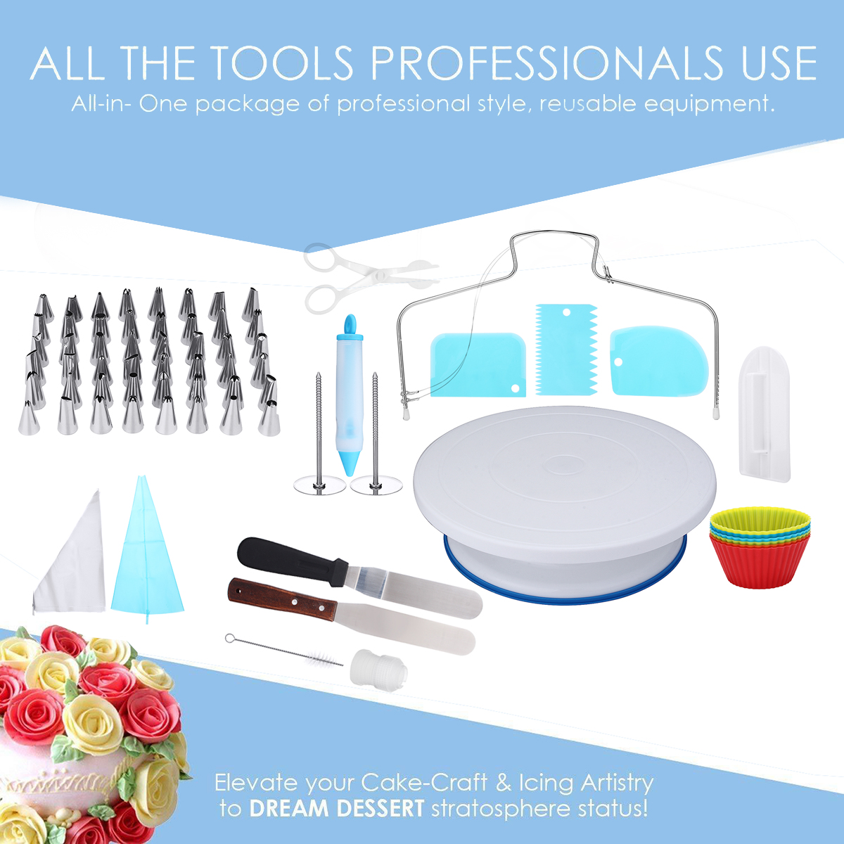 73Pcs Rotating Turntable Cake Decorating Tools Baking Mold Flower Icing Piping Nozzle