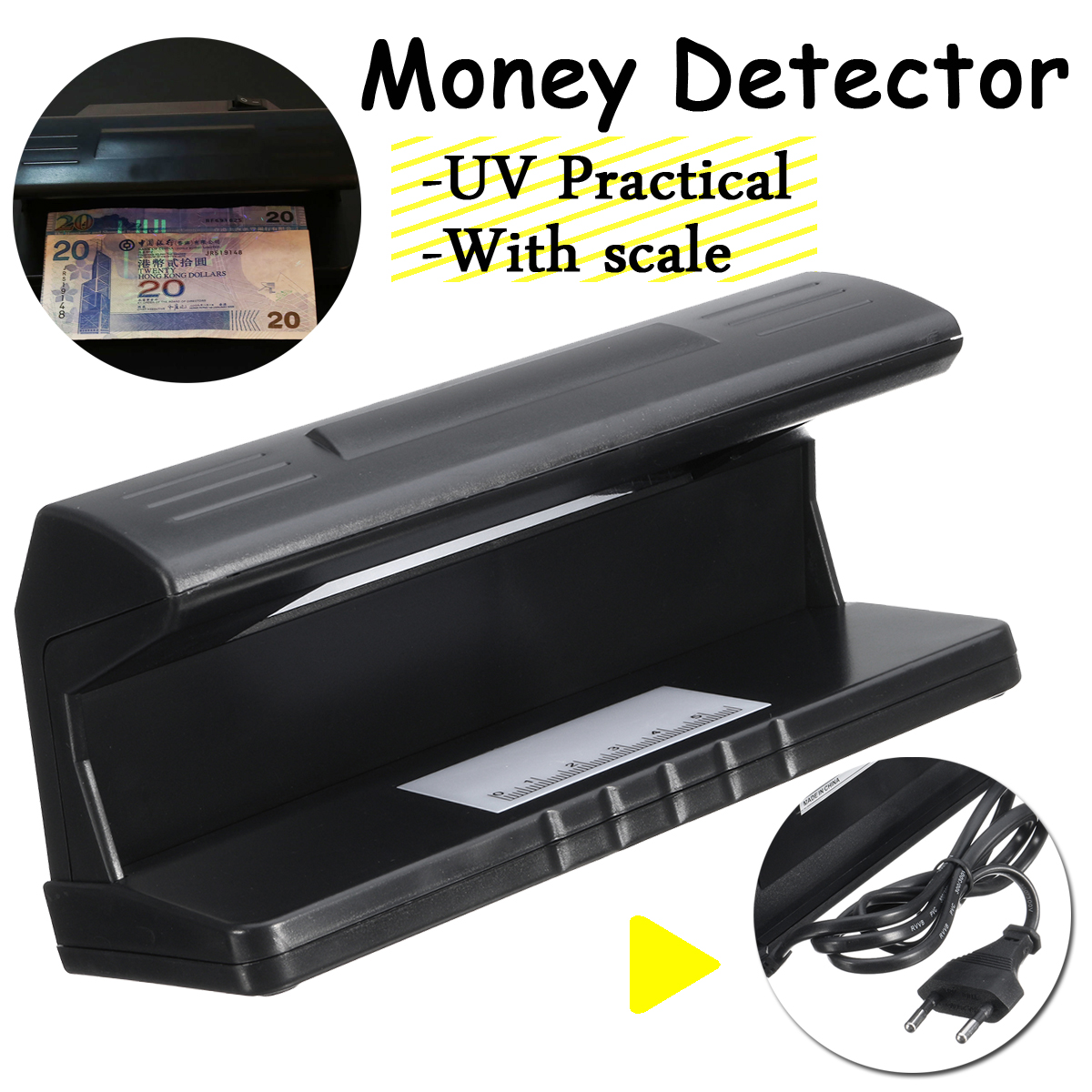 Portable UV Light Bill Currency Detector Money Test Lamp Dollar Checker with Scale