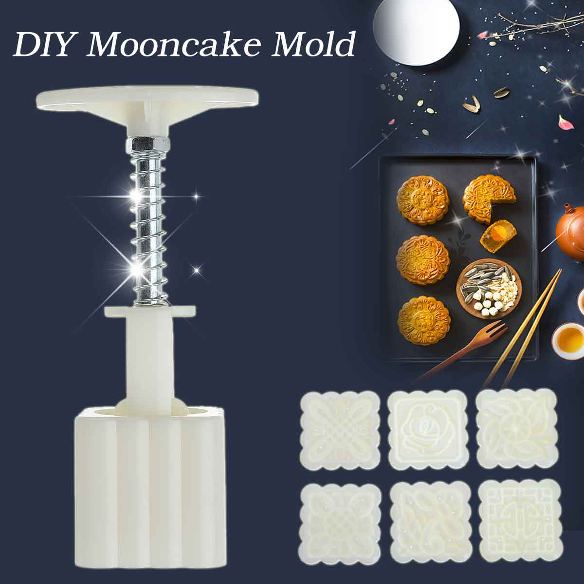 6 Flower Stamps Moon Cake Mould DIY Square Round Mooncake Baking Mold Decor Tool