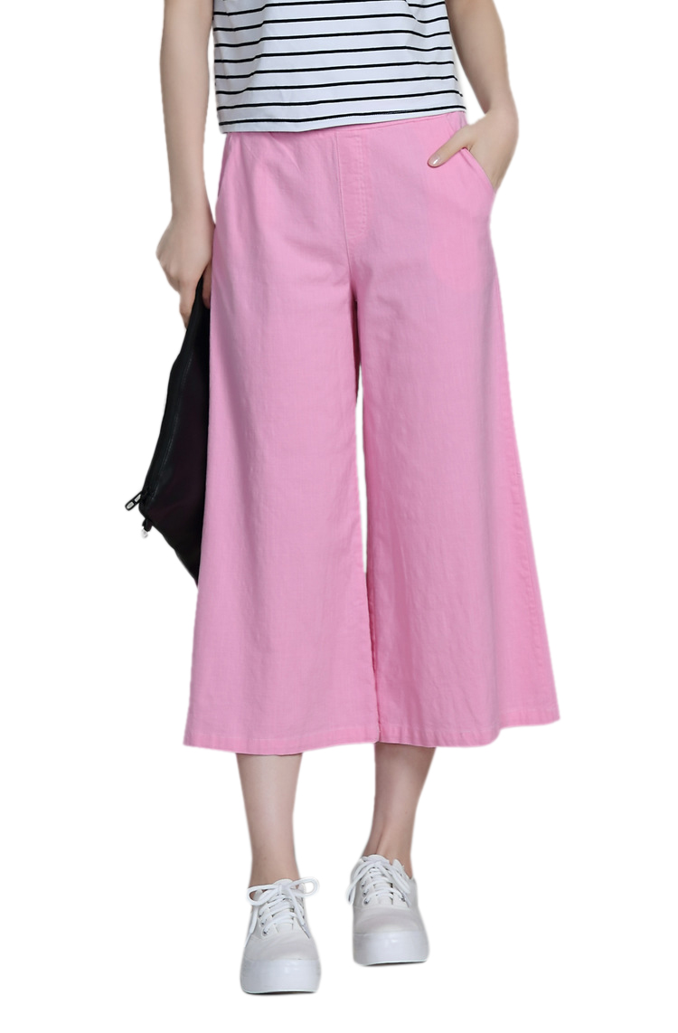 Casual Women Pure Color Elastic Waist Cotton Linen Ninth Pants