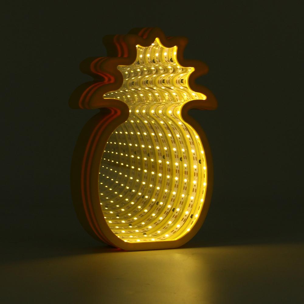 Creative Cute Pineapple Mirror Lamp LED Tunnel Night Light for Kid Atmosphere Light White/Warm White
